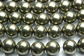 【連売り】【パイライト】 12mm 1連(約38cm)天然石 パワーストーン ビーズ パーツ _R573