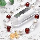 【デザインブレス】高品質オレンジガーネット&水晶スターカット8.5mmブレスレット_A5895000円以上送料無料