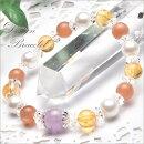 【デザインブレス】高品質オレンジムーンストーン&シトリン8mmブレスレット_A5915000円以上送料無料