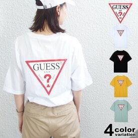 【メール便対応】GUESS ゲス 半袖 Tシャツ ビッグシルエット オーバーサイズ 大きいサイズ トライアングル [MJ2K9418] メンズ レディース シンプル ロゴ トップス ブラック ホワイト イエロー ミント ストリート