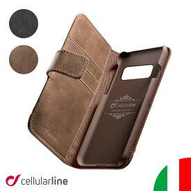 Cellularline Galaxy S20+ S10+ Plus S10 ケース 手帳型 本革 イタリア ブランド ハンドメイド Galaxy S9+ S9 ギャラクシー 手帳 ケース カバー 革 レザー おしゃれ 海外 かっこいい カード収納 カード シンプル メンズ ビジネス ブラック ブラウン Supreme