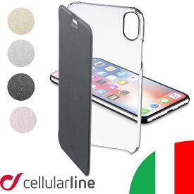 Cellularline iPhoneケース 手帳型 クリア ブランド iPhone XS X iPhone8 iPhone7 | iPhoneXS iPhoneX アイフォンXS アイフォンX iPhoneカバー アイフォンケース アイフォン アイフォーン アイホン カバー ケース スマホケース 手帳 ベルトなし おしゃれ 大人かわいい