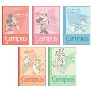 ディズニーキャラクターグッズ キャンパスノート方眼罫5冊パック スタンダード デザインコレクション