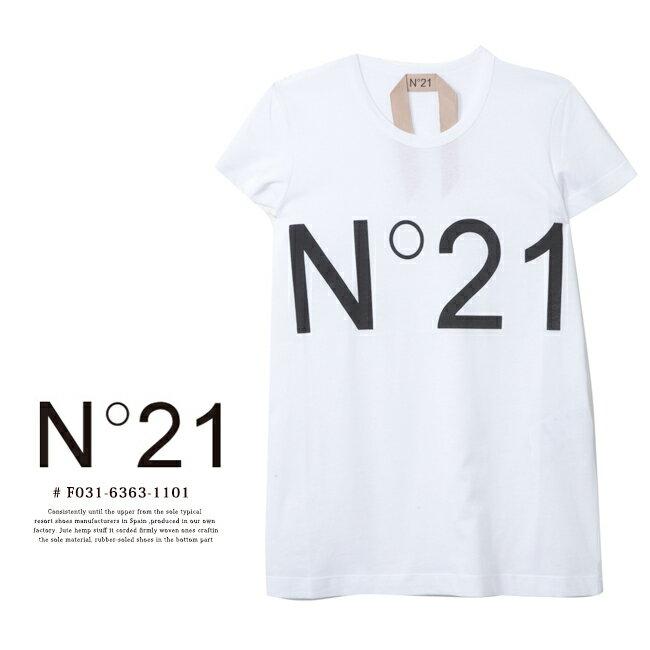 【N゜21】ヌメロヴェントゥーノ ロゴプリントTシャツF031 6363 1101 WHITE /ホワイト/ロゴT/Sサイズ/Mサイズ/コットンシャツ【正規品】