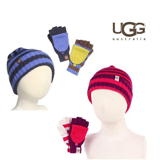 ■UGG【アグ/アグー】ボーダー柄が可愛いニット帽とミトン(手袋)のギフトセット☆KIDS Kollin Stripe Knit Gift Set #K11184Mismatched Stripe Convertible Mitten&Cuff Hat バーゲン
