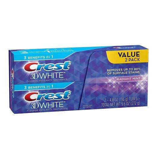 2本セット クレスト 3Dホワイト ラディアントミント 歯磨き粉 Crest 3D White Radiant Mint 136g