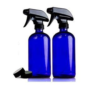 2本セット【16oz】470ml 遮光瓶 コバルトブルー ガラス 黒スプレー 青ボトル