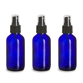 3本セット 遮光瓶 コバルトブルー ガラス スプレー ボトル 118ml ミニじょうご付き 青ボトル (Vivaplex)
