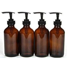 4本セット【8oz】235ml 遮光瓶 アンバー ガラス (黒ポンプ)ボトル ミニじょうご付き (Vivaplex)
