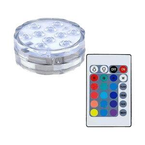潜水 水中ライト LED 防水マルチカラー電池式 リモコン 操作 無線 10灯 LED インテリア お風呂 お庭 花瓶 水槽 金魚鉢 WATERLIGHT