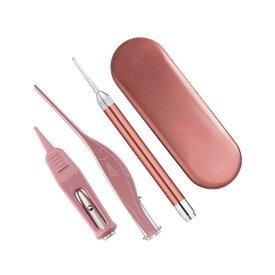 LED ライト 耳かき 子供 ステンレス スチール 耳 鼻 クリーニング ツール 3点セット 耳垢 除去 LIGHTKAKI