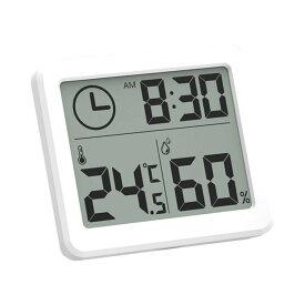 温湿度計 デジタル 大画面 温度計 湿度計 時計 卓上 おしゃれ 熱中症対策 クロック 気温 ペット 爬虫類 赤ちゃん 育児 WANOKU