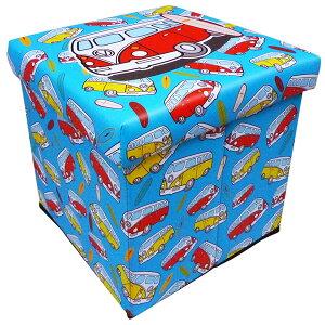 アメリカン スツールボックス ( ワーゲンバス / サーフボード ) 車イラスト柄 折りたたみ収納ケース