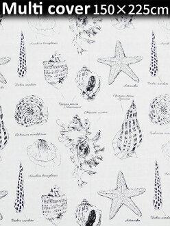 아메리칸 멀티 커버 150×225 cm (쉘) 패각해 침대 커버 소파 커버 커텐 서해안풍아메리칸 잡화