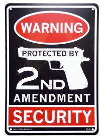 看板 店舗用 アメリカン サインボード 2ND AMENDMENT ( WARNING ピストル CA-69 ) 合衆国憲法修正第2条 武器の保持を認める メッセージ看板 プラスチック看板 西海岸風 インテリア アメリカン雑貨