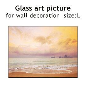 ガラス アート ピクチャー L−C(壁掛け) サンセットビーチ 横幅50cm 西海岸風 インテリア アメリカン雑貨