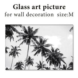 ガラス アート ピクチャー M−A(壁掛け) パームツリー ヤシの木 横幅40cm 西海岸風 インテリア アメリカン雑貨