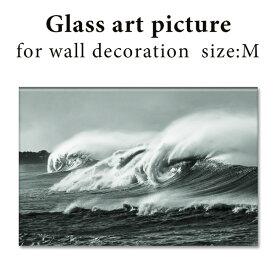 ガラス アート ピクチャー M−B(壁掛け) ビッグウェーブ 横幅40cm 西海岸風 インテリア アメリカン雑貨