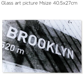 ガラス アート ピクチャー M 40cm (ブルックリン) 壁掛け 街並み ニューヨーク モノクロ 白黒 ポスター 写真 西海岸風 塩 系 インテリア アメリカン雑貨