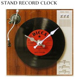 レコード スタンドクロック (RD) 赤 卓上 置き時計 アナログ盤 レコードプレーヤー カフェ 音楽 プレゼント オシャレ 時計 レトロ 西海岸風 インテリア アメリカン雑貨