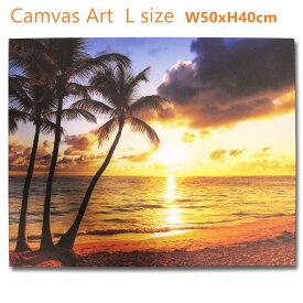 アメリカン キャンバスアート L (サンセットビーチ パームツリー62071) 砂浜 ヤシの木 ポスター 壁飾り おしゃれ 夕日 写真 西海岸風 壁面 インテリア サーフィン アメリカン雑貨