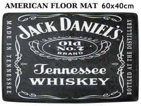 玄関マット (ジャックダニエル) ロゴ フロアマット ガレージマット ブラック 黒 かっこいい 店舗 BAR ウイスキー アルコールグッズ 丸洗い 滑り止め 西海岸風 インテリア アメリカン雑貨