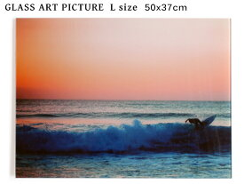 ガラス アート ピクチャー L−H (壁掛け) サンセット サーファー 横幅50cm 海 サーフィン 夕焼け サーフ系 おしゃれ壁掛け 海 カリフォルニア 西海岸風 インテリア アメリカン雑貨