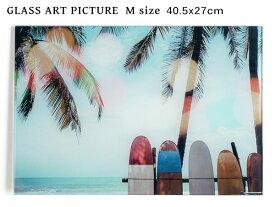 ガラス アート ピクチャー M−M (壁掛け) サーフボード ビーチ 横幅40cm パームツリー ヤシ サーフ系 おしゃれ壁掛け 海 カリフォルニア 西海岸風 インテリア アメリカン雑貨