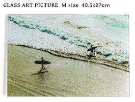 ガラス アート ピクチャー M−N (壁掛け) サーファーズ ビーチ 横幅40cm 海 砂浜 サーフ系 おしゃれ壁掛け 海 カリフォルニア 西海岸風 インテリア アメリカン雑貨