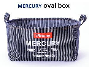 MERCURY オーバルバケツ M (ヒッコリー) 折りたたみ 収納ボックス マーキュリー 整理 布 カゴ 内側 コーティング コンパクト 洗濯カゴ バスケット おしゃれ ソフト ラウンド 西海岸風 インテリ