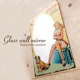ガラス ウォールミラー (モーメント 1402) 壁掛けミラー パブミラー 大きい 鏡 ピンナップガール オールドアメリカン レトロ 広告デザイン ウォールデコレーション ダイナー 西海岸風 インテリア アメリカン雑貨