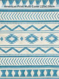 トライバルB マルチカバー 150×225cm ( ブルー ) オールドアメリカン 民族風 幾何学模様 ベッドカバー ソファカバー テーブルクロス カーテン 日除け 布 大判 西海岸風 アメリカン雑貨