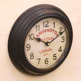 プレステージ ウォールクロック ケンシントンステーション ラウンド 壁掛け時計 アンティーク時計 西海岸風 インテリア アメリカン雑貨