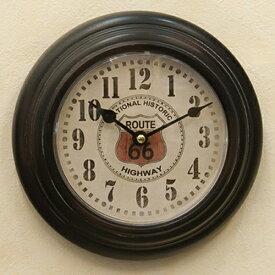 ビンテージ プレステージ ウォールクロック ルート66(ブラック) ROUTE66 ガレージ ブリキ時計 壁掛け時計 時計 西海岸風 インテリア アメリカン雑貨