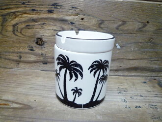 SURF ash tray (ashtray) Palm tree Hawaiian ceramic lid with column ashtrays ☆ Interior