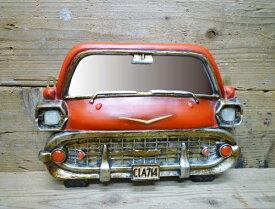 オールドアメリカン カーウォールミラー ( レッド ) 壁掛け 鏡 車 西海岸風 アメリカン雑貨