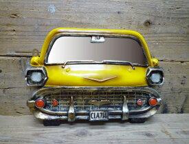 オールドアメリカン カーウォールミラー ( イエロー ) 壁掛け 鏡 車 西海岸風アメリカン雑貨