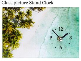 ガラス アートピクチャー スタンドクロック (ビーチC) 置き時計 海 サーフィン 雑貨 カフェ カリフォルニア プレゼント オシャレ 時計 レトロ 西海岸風 インテリア アメリカン雑貨