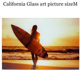ガラス アート ピクチャー M−K (壁掛け) サンセット サーファーガール ビーチ 横幅40cm サーフ系 おしゃれ壁掛け 海 カリフォルニア 西海岸風 インテリア アメリカン雑貨