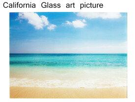ガラス アート ピクチャー L−F (壁掛け/ポスター) サンファインビーチ 横幅50cm 砂浜 海 波 サーフィン サーフ系 おしゃれ 綺麗な海 ポスター ウエーブ 西海岸風 インテリア アメリカン雑貨