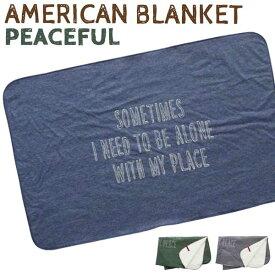 ブランケット(PEACEFUL)毛布 ひざ掛け ユニセックスな柄 西海岸風 インテリア アメリカン雑貨