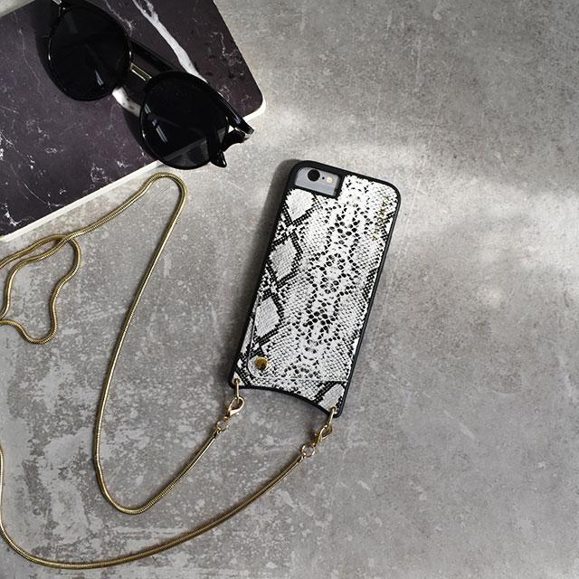 ネコポス送料無料 ショルダーチェーン ホワイトパイソン柄 カード収納付き iPhoneケース/iPhone6ケース/iPhone6sケース/iPhone6Plusケース/iPhone7ケース/iPhone7plusケース/iPhone8ケース/iPhone8plusケース/iPhoneXケース/iPhoneXSケース/TPU素材ケース