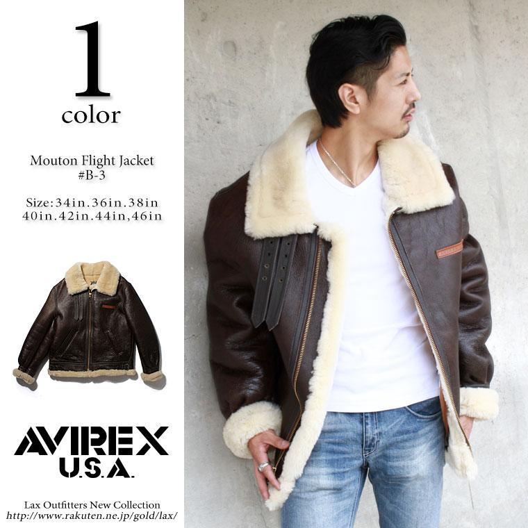 AVIREX アビレックス ムートンジャケット B-3 SHEEP SKIN 【USAモデル】【クーポン使用不可】