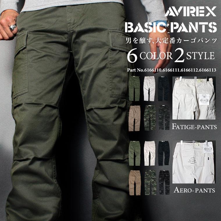 【送料無料】 AVIREX アビレックス FATIGUE PANTS ファティーグ カーゴ パンツ 6166110 6166111 6166112 6166113 バイカーパンツ