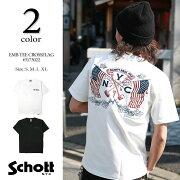 SchottショットEMBクロスフラッグ刺繍Tシャツ3173022