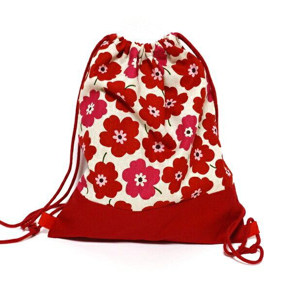 【DM便(メール便)対応可】ナップサック リュックサック   ハンドメイド 子供用 ジュニアキッズ 赤いお花  北欧風 体操着入れ