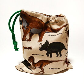 【メール便対応可】恐竜ベージュ 巾着小コップ袋 コップ入れ 入園入学 通園通学 ハンドメイド