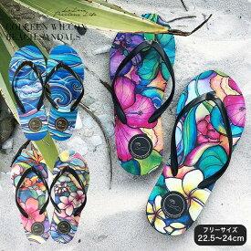 コリーンウィルコックス ビーチサンダル レディース おしゃれ 海外旅行 ビーチ リゾート ハワイ サンダル プレゼント ギフト 履きやす 歩きやすい 花 波 柄 あす楽