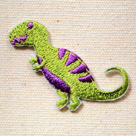 ワッペン 恐竜(グリーン/パープル) OS-027 ワッペン アイロン ブランド 通販 アップリケ ブレザー シャツ エンブレム アルファベット イニシャル ミリタリー カンパニー 名前 キャラクター SSS