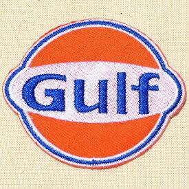 ロゴワッペン ガルフオイル Gulf Oil LGW-171 アイロン アップリケ パッチ アルファベット エンブレム 名前 ミリタリー 車 ディズニー ワッペン